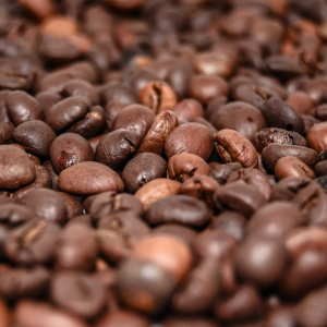 Close up of Maple Bacon Coffee Beans roasted by Family's Favorite Foods